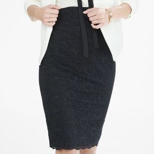 Express High Waisted Lace Midi Pencil Skirt